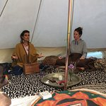 Mantra singing and meditation in the tipi tent