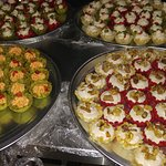 Hors d'oeuvres for catering- smoked salmon and pistachio marscapone cups