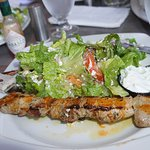 Pork Souvlaki with salad