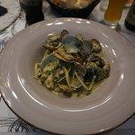 Linquine with Clams, Pesto and Pistachio