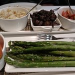 Sides: Crab and mac, mushrooms, candied carrots and asparagus. Plenty for two people.