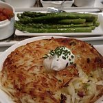 Two sides: Hash browns and asparagus.