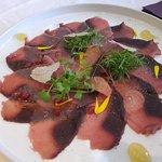 Starter of carpaccio of tuna