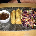 Duck spring rolls with asian slaw.