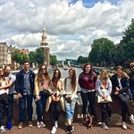 Group photo with the Fantastic view over Nemo museum and the Montelbaanstoren!