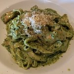 Pesto fettuccine with grilled chicken
