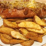 The Big Chili Cheese Dog with Fudds Fries