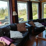 Larger of the two cabins, which includes a jacuzzi tub and fireplace.