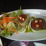 interesting appetizer - that is an egg plant puree wrapped with zuchinni