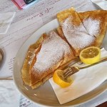 Pancakes with cinnamon sugar and sour cream