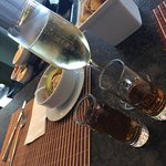 Ceviche, champagne and tequila during check-in in Grand Club Lounge.