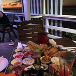 Seafood platter for two at sunset