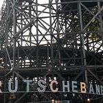 The historic wooden roller coaster
