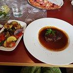 medium steak with grilled vegetables