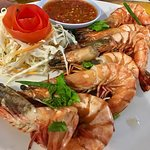 Steamed Tiger Prawns with sweet basil leaves