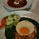 Penang beef curry and spicy chicken fried rice
