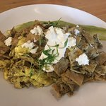 Chilaquiles no meat with green sauce