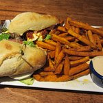 Blue Angel Cafe - Fresh Mozzarella Sandwich with Sweet Potato Fries