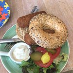 Mushroom kroket bagel