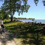 Biking along the shoreline.