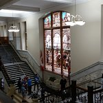 Old City Hall grand staircase, stained glass window