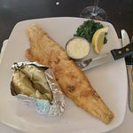 Walleye Pike, pan fried with baked potato (and house salad not pictured)