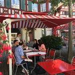 A delightful patio for dining in June