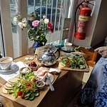lunch cheese salad and a ham salad and a pot of tea for two