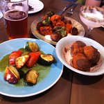 Chicken fried mushrooms, buffalo guinea hen, and halloumi & vegetable skewers