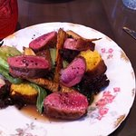 Duck breast and duck leg confit with cornbread, figs, and parsnips