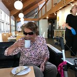 My mother drinking her delicious coffee