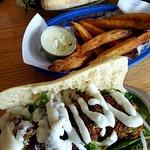 Falafel sandwich, small fries, portabella sandwich.