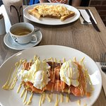 Scrambled eggs and the poached eggs with salmon. Really good