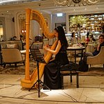 Lady with the harp, the Langham Hotel, Hong Kong