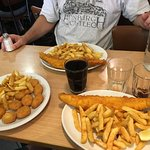 Dr. Pepper, fish and chips, and chicken nuggets and chips