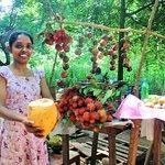 Tasting Sri Lankan King coconut