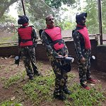 Paint ball game with family was really thrilling and fun.