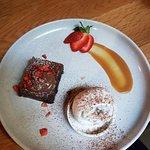 Chocolate brownie with ice cream