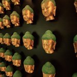 The Budda Wall in the Gin Bar, made up of over 500 Buddha Heads