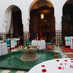 The main dining area with central fountain