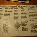 This is the menu of beers and ales that were available at the time of our visit.