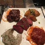 The Classic (Angus Beef sirloin, Memphis-Style dry Rub Pork, Shrimp, Herb-Crusted Chicken Teriya