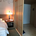 The Easy Hotel room and bathroom