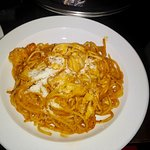 Shrimp and chicken pasta room service