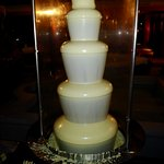 White  chocolate fountain in the courtyard