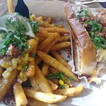 Elote fries & dirty chili dogs. The elote fries are a great twist on the corn, but I do perfer t