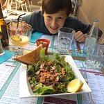 Entrée : Salade aux deux saumons.