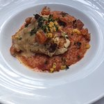 Grouper with red risotto
