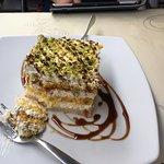 Gluten free lactose free pistachio tiramisu