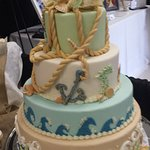 Beautiful four tier beach themed wedding cake